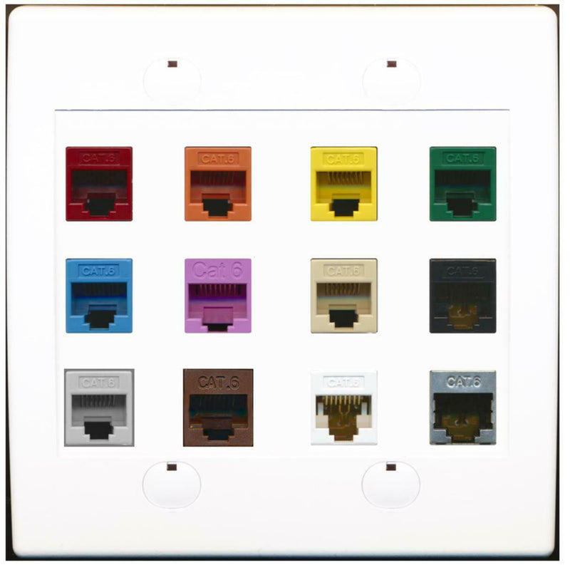 12 Port Cat6 F/F Mixed Colors Wall Plate White