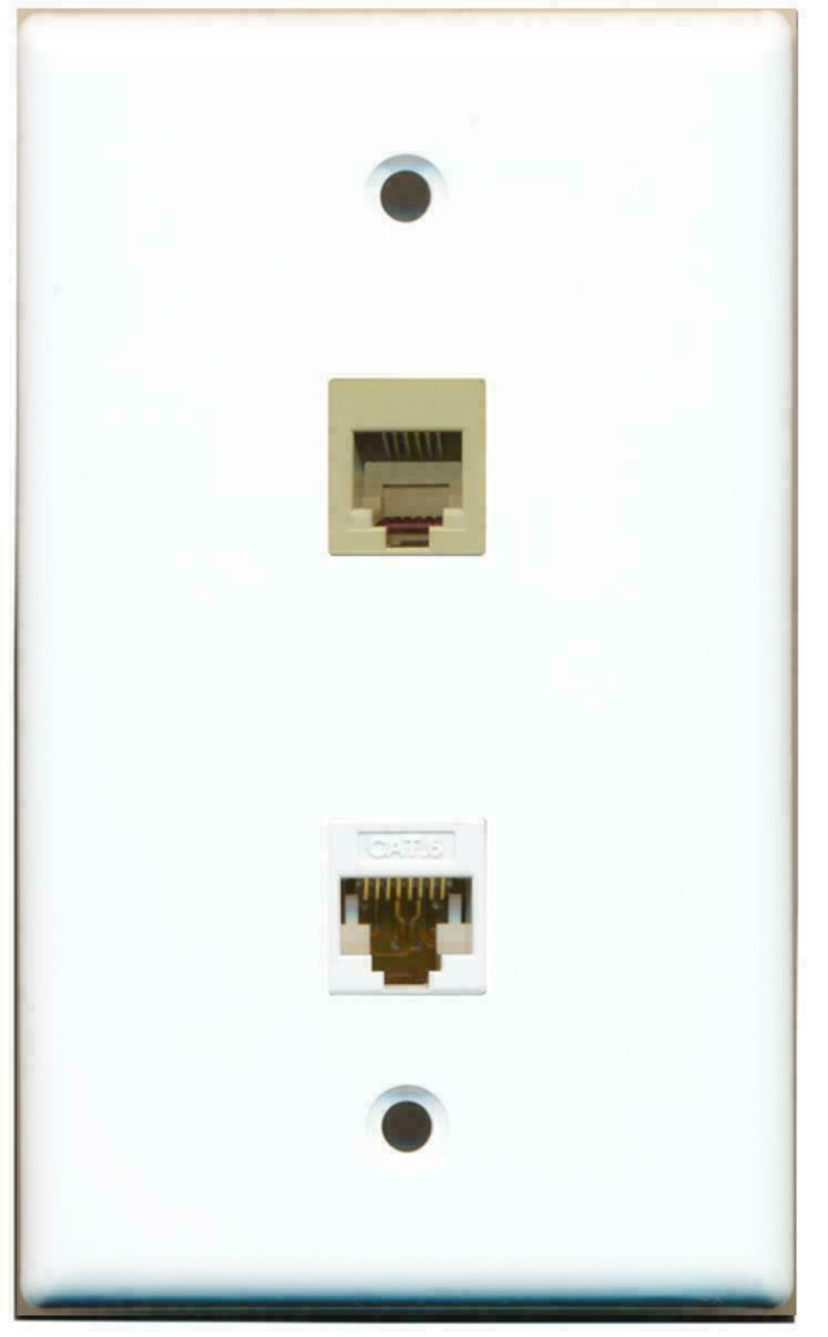 1 RJ11 RJ12 Phone Port and 1 Cat6 White Ethernet Port Wall Plate