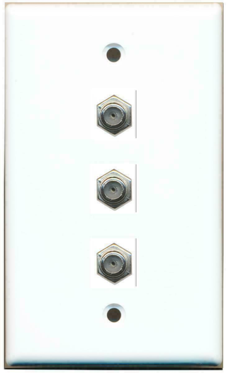3 Port Coax Cable TV- F-Type Wall Plate