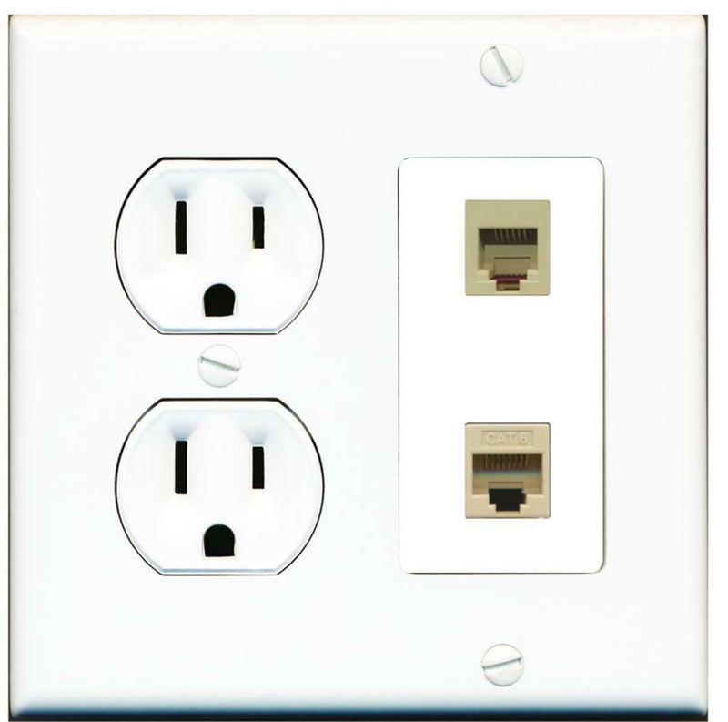 15 Amp Round Power Outlet 1 Port Phone RJ11-12 1 Cat6 Ethernet Wall Plate