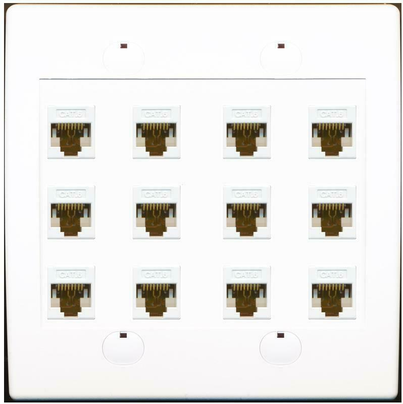 12 Port Cat6 Ethernet Wall Plate Flat Solid White