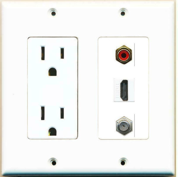 2 Gang 15 Amp Duplex Power Outlet HDMI Coax Cable TV RCA Red Wall Plate