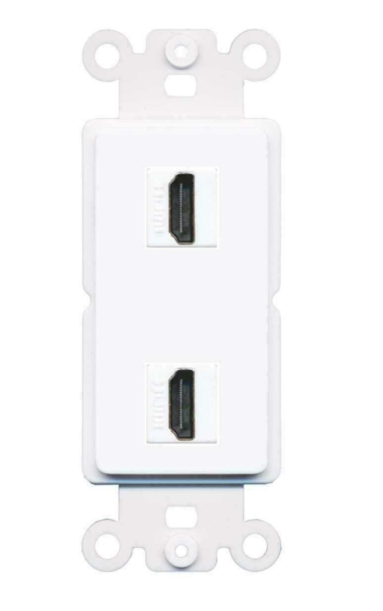 2 Port HDMI Decora Type Wall Plate Insert - White