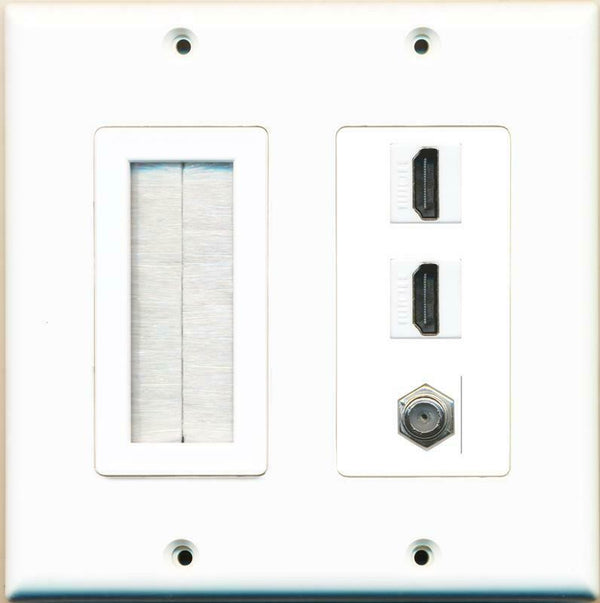 Brush and 2 HDMI 1 Coax Wall Plate