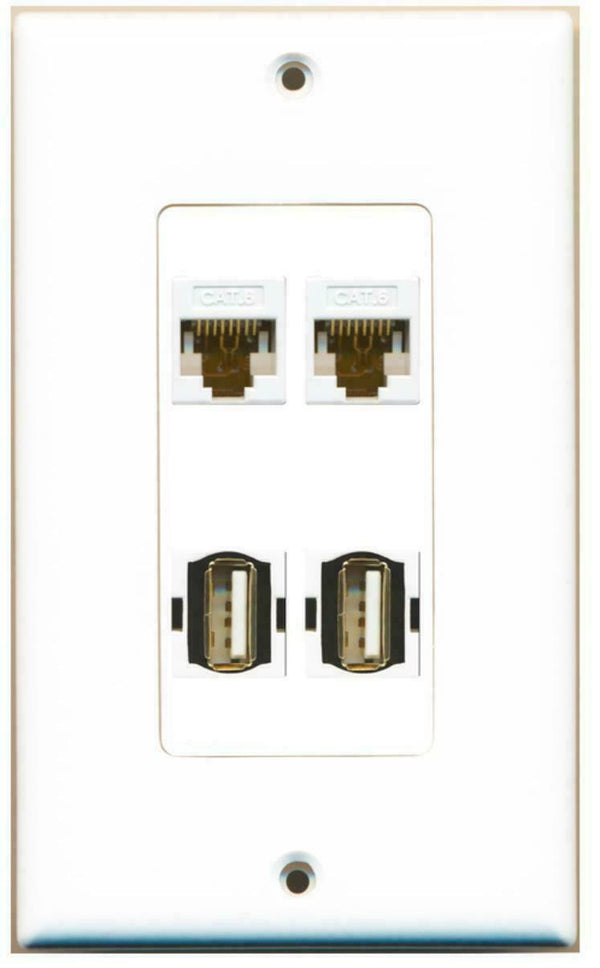 1 Gang Decorative 2 Cat6 White 2 USB A-A Wall Plate White