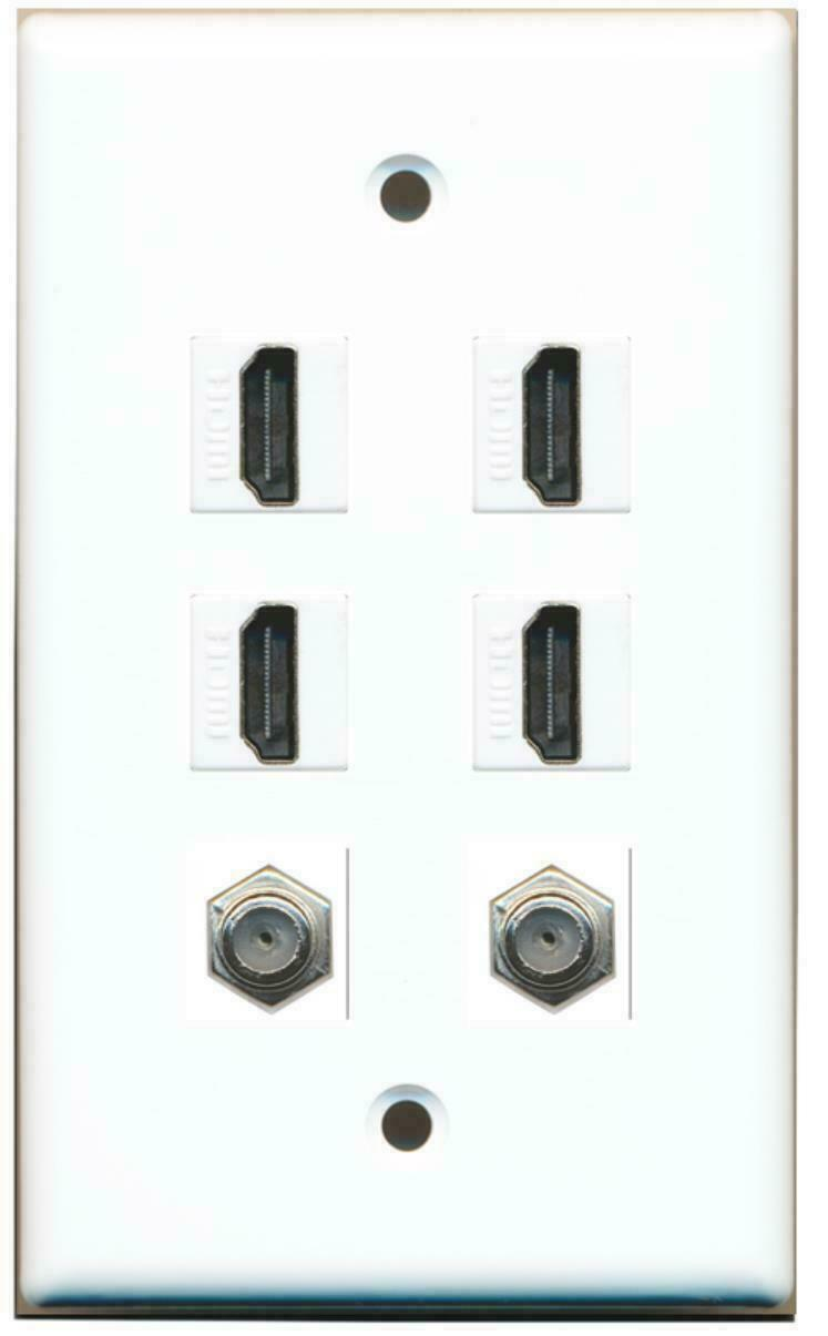 4 Port HDMI 2 Port Coax Cable TV- F-Type Wall Plate