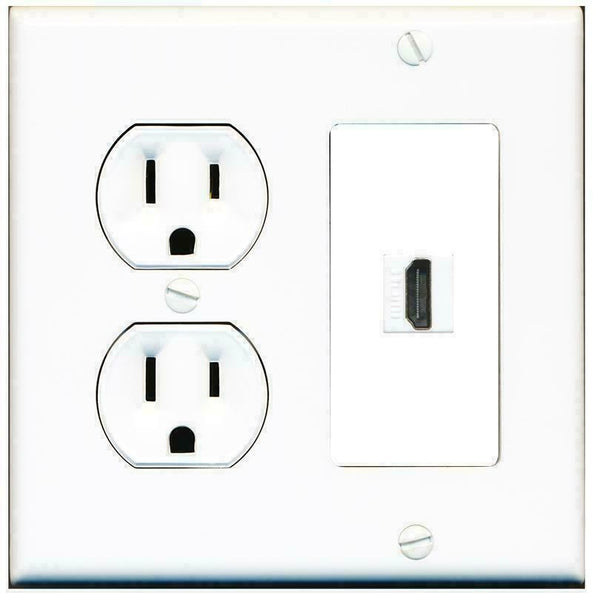 2 Gang 15 Amp Duplex Round Power Outlet HDMI Keystone Coupler Wall Plate lot