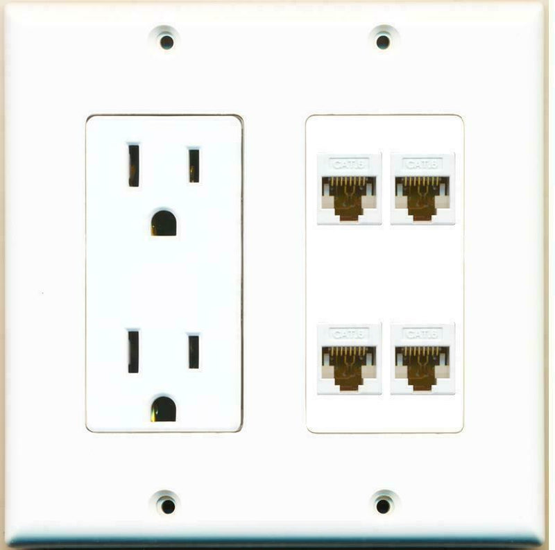 15 Amp Power Outlet 4 Port Cat6 Ethernet F/F Jack Wall Plate White