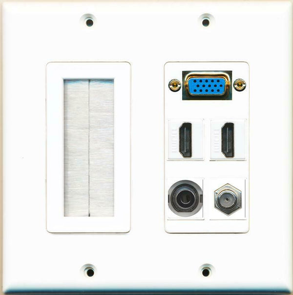 Brush and VGA 2 HDMI 3.5mm Coax Wall Plate White