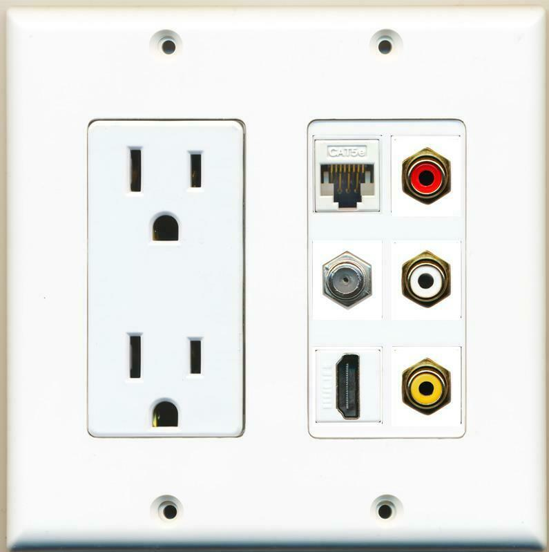 15A Power Outlet 3 RCA Red/White/Yellow HDMI Cat5e Coax Wall Plate