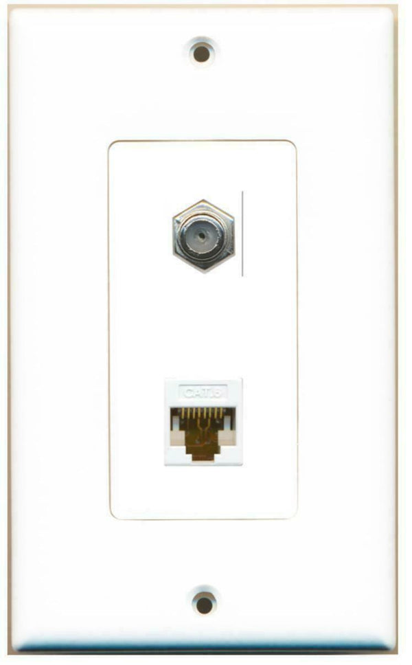 1 Port Cat6 Coax Cable TV F/F 1 Gang Decorative Wall Plate -White
