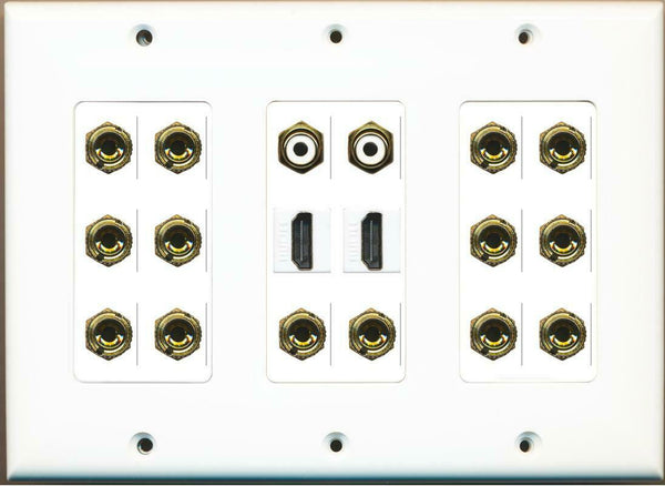 14 Banana for 7 Speakers - 2 HDMI 2 RCA Wall Plate White