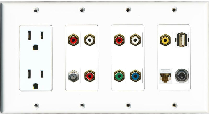 15A Power Outlet 8 RCA Coax USB A-A Cat6 3.5mm Wall Plate White