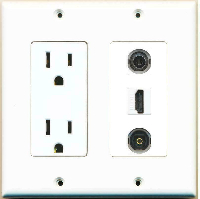 2 Gang 15 Amp Duplex Power Outlet HDMI 3.5mm Toslink Coupler Wall Plate