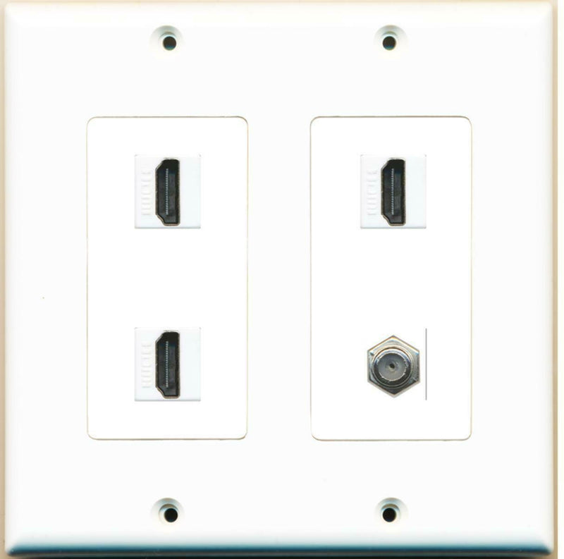 2 Gang Decorative 3 HDMI Coax Wall Plate White