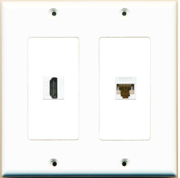 HDMI and Cat6 Ethernet F/F 2 Gang Port Jack Wall Plate