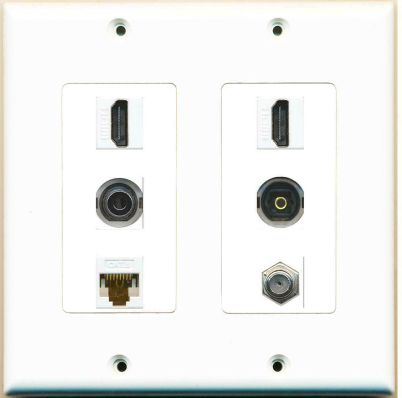 2 Gang Decorative 2 HDMI Coax Cat6 White 3.5mm Toslink Wall Plate White