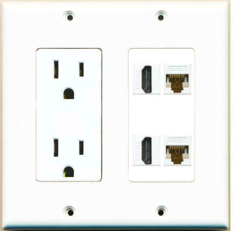 2 Gang 15 Amp Power Duplex Outlet 2 HDMI 2 Cat6 Ethernet Coupler Wall Plate
