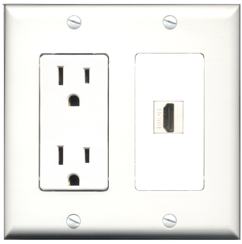 Wallplate City - 15 Amp Power Outlet 1 Port HDMI Decorative Wall Plate