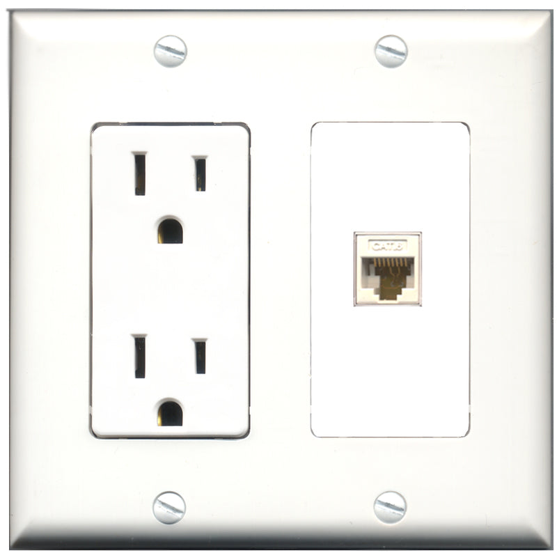 Wallplate City - 15 Amp Power Outlet 1 Port Cat6 White Decorative Wall Plate