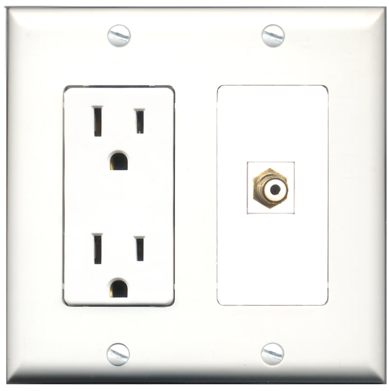 Wallplate City - 15 Amp Power Outlet 1 Port RCA White Decorative Wall Plate