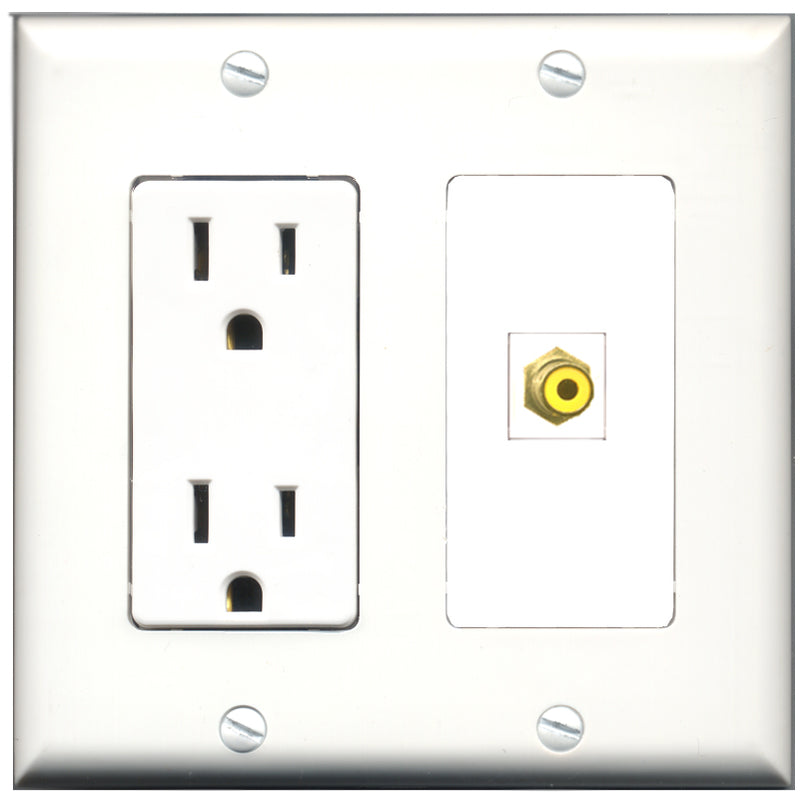 Wallplate City - 15 Amp Power Outlet 1 Port RCA Yellow Decorative Wall Plate