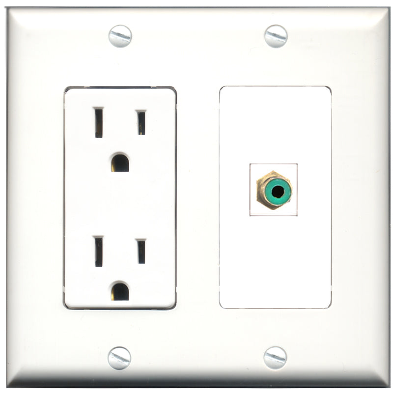 Wallplate City - 15 Amp Power Outlet 1 Port RCA Green Decorative Wall Plate