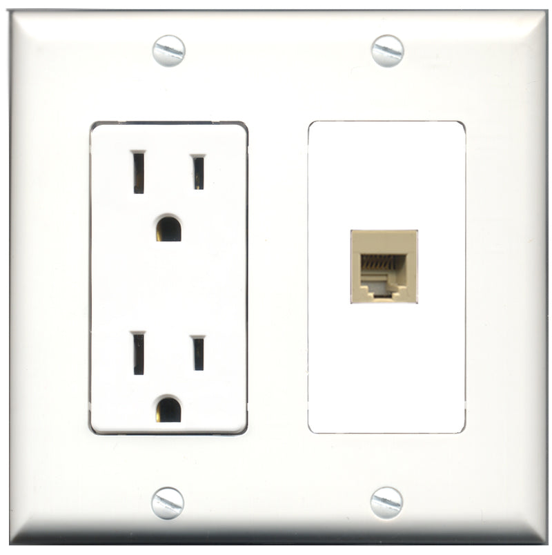 Wallplate City - 15 Amp Power Outlet 1 Port Phone RJ11 RJ12 Decorative Wall Plate