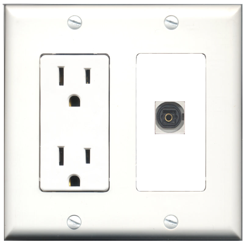 Wallplate City - 15 Amp Power Outlet 1 Port Toslink Decorative Wall Plate