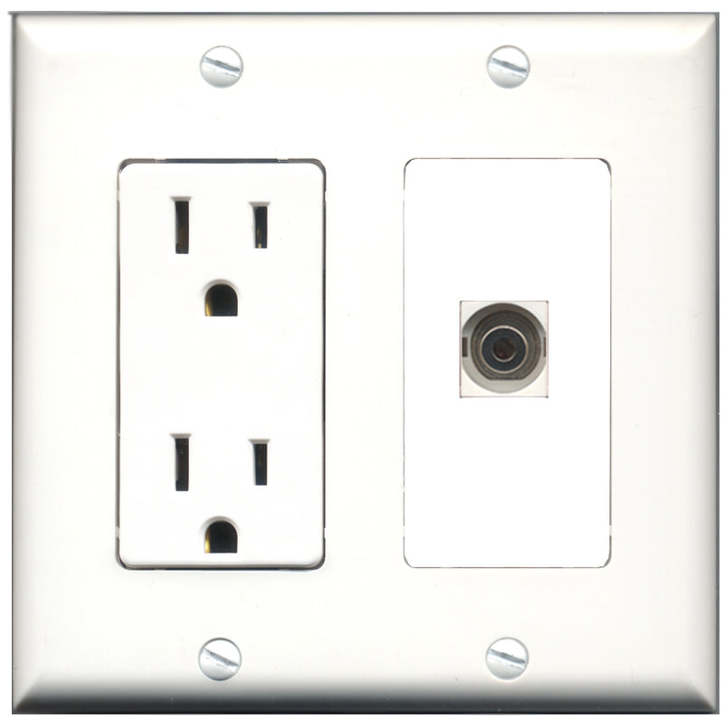 Wallplate City - 15 Amp Power Outlet 1 Port 3.5mm Decorative Wall Plate