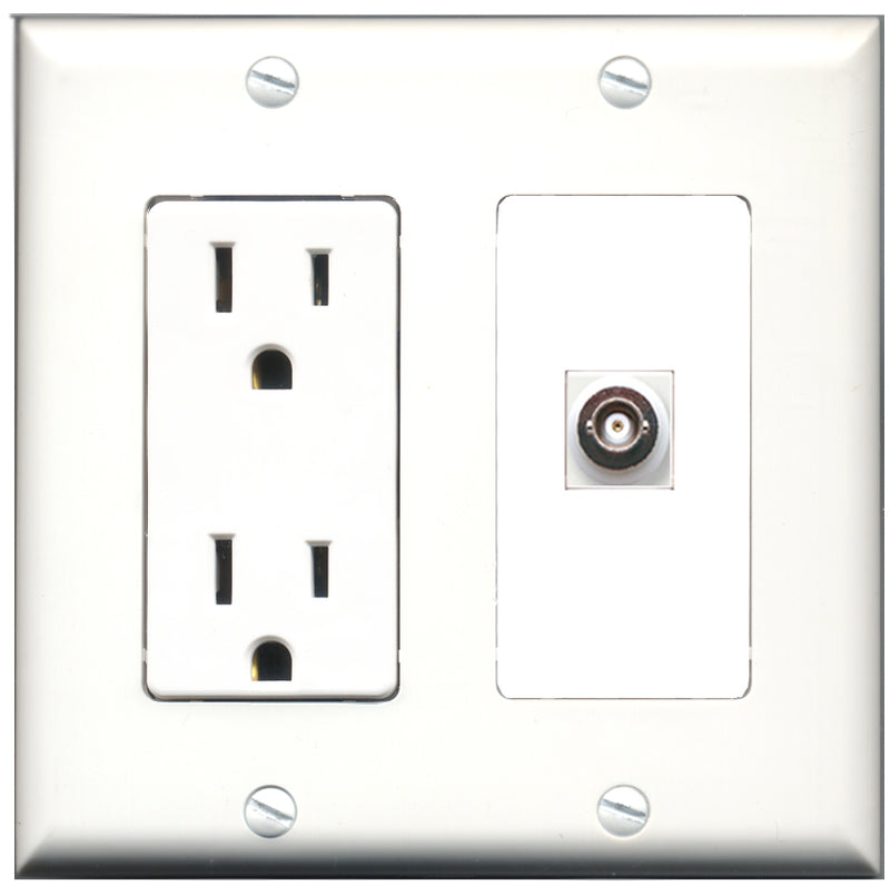 Wallplate City - 15 Amp Power Outlet 1 Port BNC Decorative Wall Plate