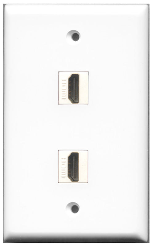 Wallplate City - 2 Port HDMI 2.0 Female F/F Keystone Jack Wall Plate White