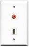 Wallplate City - 1 Port HDMI 2.0 1 Port RCA Red Female F/F Keystone Jack Wall Plate White