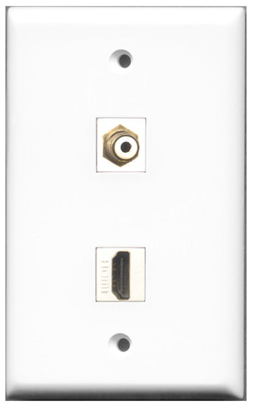 Wallplate City - 1 Port HDMI 2.0 1 Port RCA White Female F/F Keystone Jack Wall Plate White