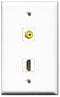 Wallplate City - 1 Port HDMI 2.0 1 Port RCA Yellow Female F/F Keystone Jack Wall Plate White
