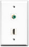 Wallplate City - 1 Port HDMI 2.0 1 Port RCA Green Female F/F Keystone Jack Wall Plate White