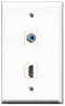 Wallplate City - 1 Port HDMI 2.0 1 Port RCA Blue Female F/F Keystone Jack Wall Plate White