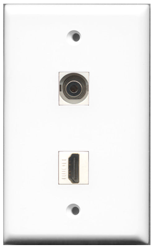 Wallplate City - 1 Port HDMI 2.0 1 Port 3.5mm Female F/F Keystone Jack Wall Plate White