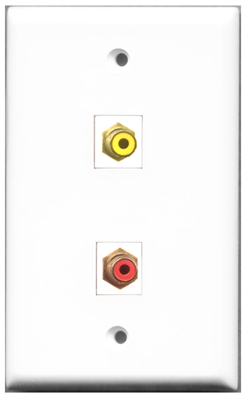 Wallplate City - 1 Port RCA Red 1 Port RCA Yellow Female F/F Keystone Jack Wall Plate White