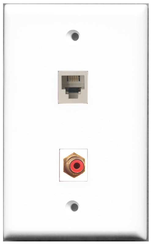 Wallplate City - 1 Port RCA Red 1 Port Phone RJ11 RJ12 White Female F/F Keystone Jack Wall Plate White
