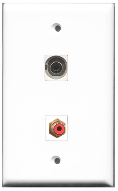 Wallplate City - 1 Port RCA Red 1 Port 3.5mm Female F/F Keystone Jack Wall Plate White