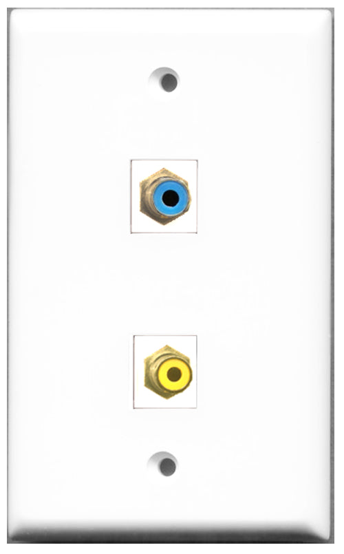 Wallplate City - 1 Port RCA Yellow 1 Port RCA Blue Female F/F Keystone Jack Wall Plate White