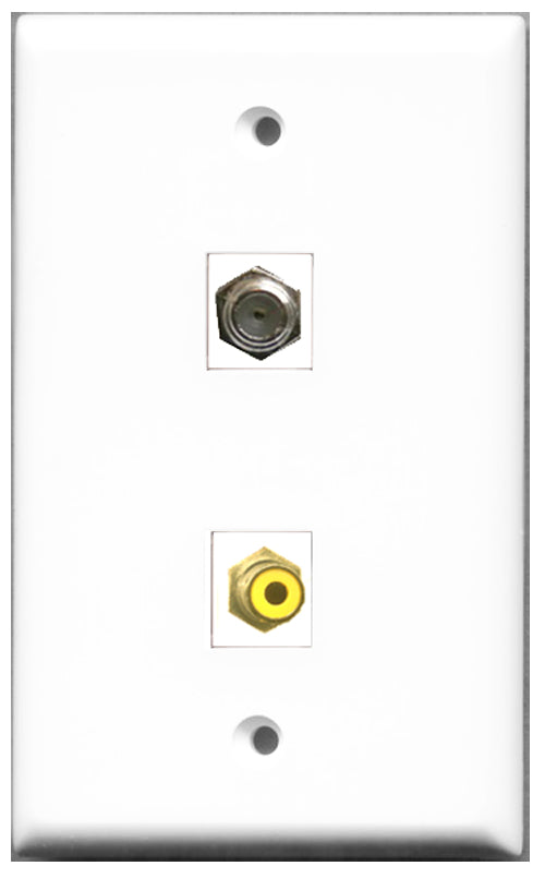 Wallplate City - 1 Port RCA Yellow 1 Port Coax Female F/F Keystone Jack Wall Plate White