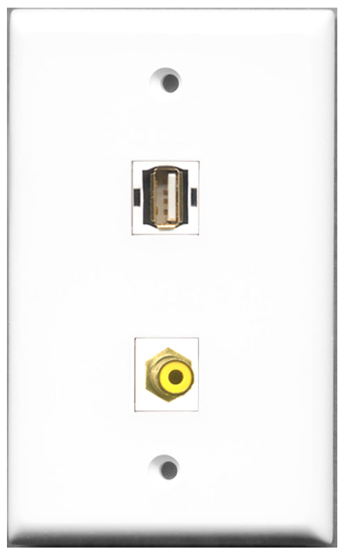 Wallplate City - 1 Port RCA Yellow 1 Port USB A-A Female F/F Keystone Jack Wall Plate White