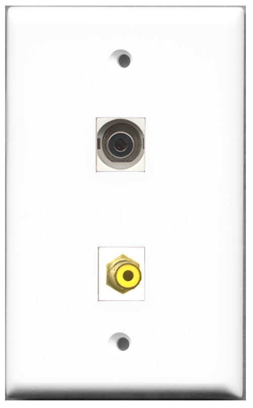 Wallplate City - 1 Port RCA Yellow 1 Port 3.5mm Female F/F Keystone Jack Wall Plate White