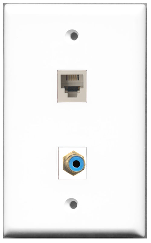 Wallplate City - 1 Port RCA Blue 1 Port Phone RJ11 RJ12 White Female F/F Keystone Jack Wall Plate White