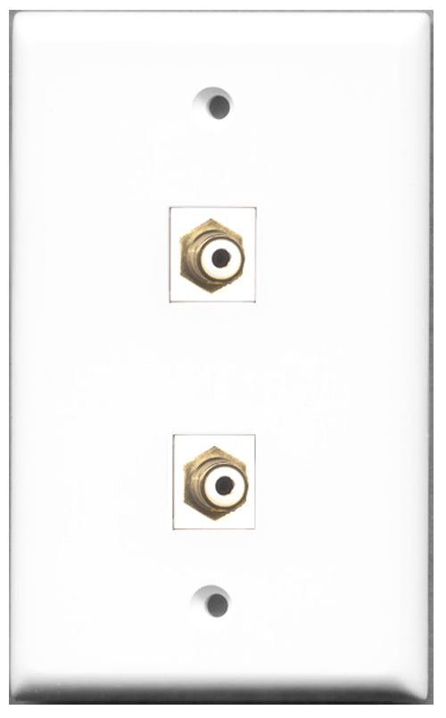 Wallplate City - 2 Port RCA White Female F/F Keystone Jack Wall Plate White