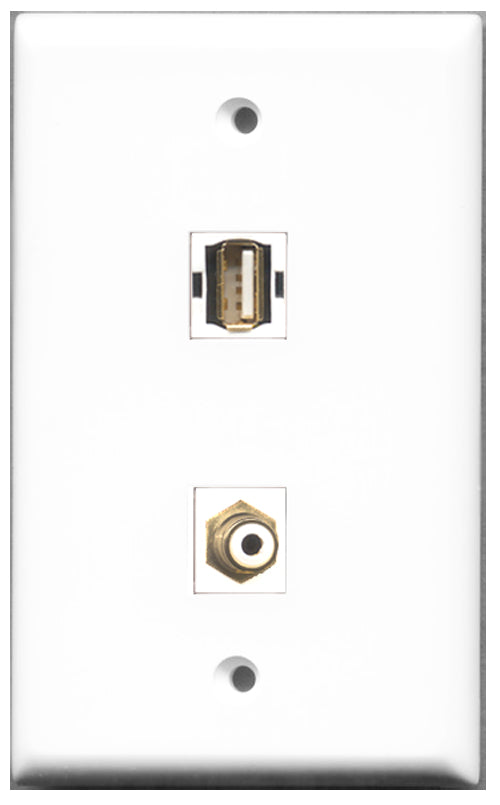 Wallplate City - 1 Port RCA White 1 Port USB A-A Female F/F Keystone Jack Wall Plate White