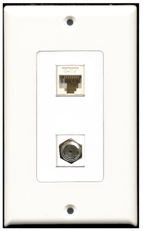 Wallplate City - 1 Port Coax 1 Port Cat6 Ethernet Decora Type Female F/F Keystone Jack Wall Plate White