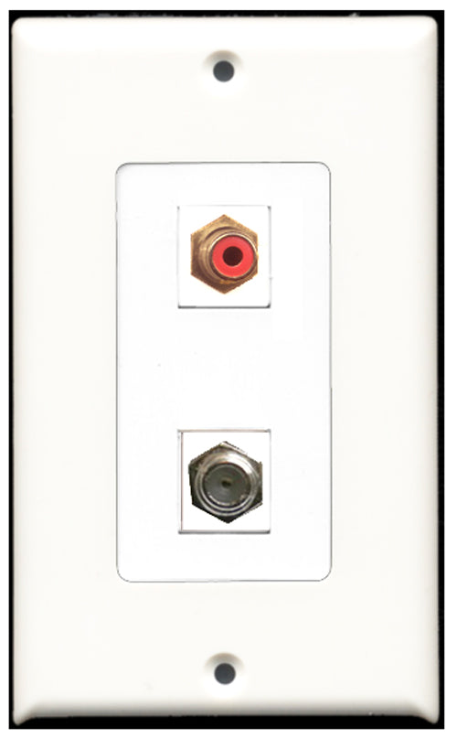 Wallplate City - 1 Port RCA Red 1 Port Coax Decora Type Female F/F Keystone Jack Wall Plate White